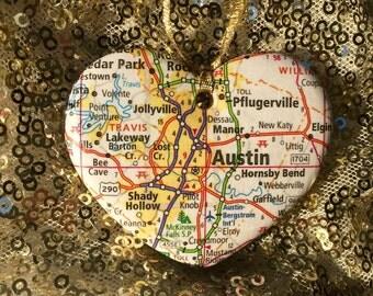 Austin Map Ornament