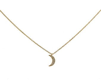 0.09ct Pave Diamonds in 14K Yellow Gold Crescent Moon Charm Necklace - CUSTOM MADE