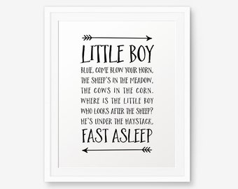 Baby Boy Nursery Rhyme, Nursery printable, Little Boy Blue, Nursery Wall Art, Children decor, boy bedroom decor, Lullaby printable
