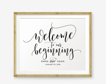 SALE Personalized Wedding Sign, Welcome To Our Beginning, Wedding Printable, Wedding welcome sign, Wedding Sign, Wedding Decor