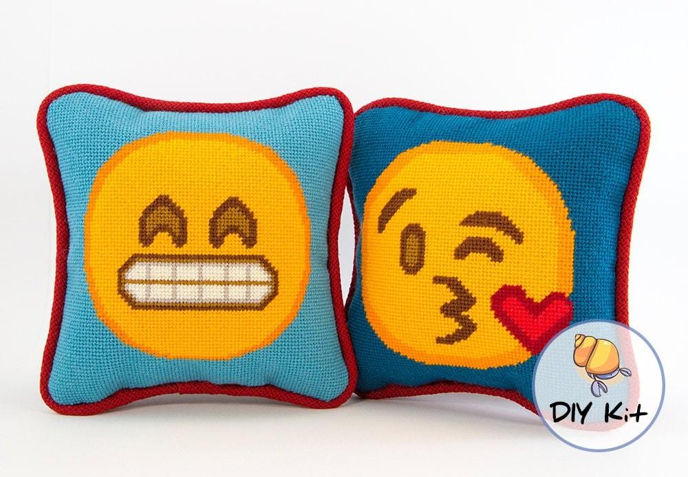 Mini Emoji Needlepoint Pillow Kits. Modern Needlepoint Kits.