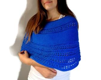 Blue cotton bolero, hand knitted blue bolero, blue summer poncho, summer blue shrug, blue cotton capelet, hand knitted capelet, stark blue