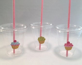 Cupcake Party Cups with Lids and Straws, Plastic Cupcake Party Drink Cups