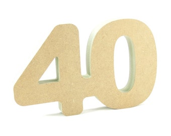 40th celebration wooden number free standing for DIY crafters birthday anniversary decoration