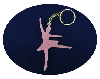 Pink Ballet Dancer Lucky Charm Bag Dangler Key Ring Party Favour Favor