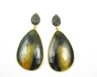 20% off Huge Genuine Sapphire Diamond Earrings, Sapphire Pave Diamond Earrings, Gemstone earrings, fine earrings, estate jewelry,