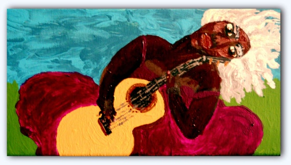 """ALDENORA - Acrylic on 12 x 6"""" Canvas Ethnic Folk Art Dark Skinned Woman With Silver Hair and Guitar African American Artist Stacey Torres"""