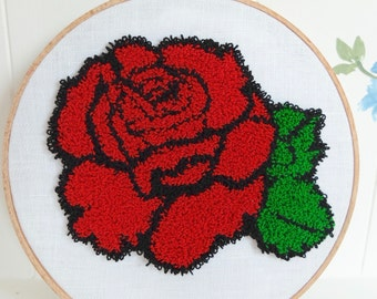 Punch Needle Embroidery Hoop Wall Art - Red Rose Blossom