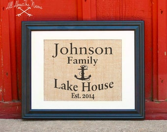 Personalized Lake House Sign -  Custom Lake House Sign, Personalized Family Sign, Housewarming Gift, Burlap Print, Established Sign