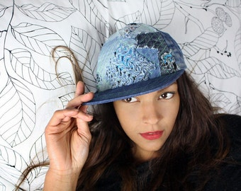 recycling upcycling baseball cap - wavy in the square