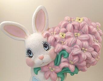 Ceramic Bunny, Ceramic Rabbit, Easter Bunny, Easter Decor, White Bunny, White Rabbit, Spring Decor, Easter, Hand Painted Ceramics, Figurine