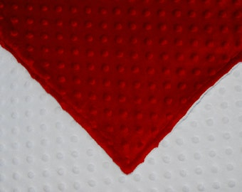 Red and White Minky Dimple Dot Baby Blanket/Toddler Blanket