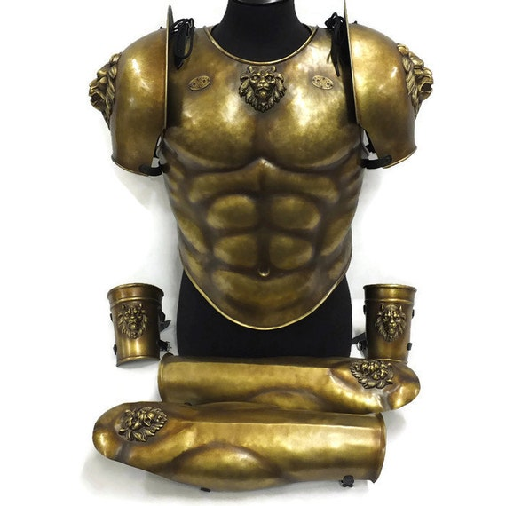 Larp Armor, Classical Lion Greek Roman Muscle Armor Set, Spartan, Trojan, body armor, Cosplay armor