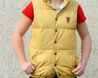 Warm Leather Vest Vintage Puffy Ski Vest Warm Waistcoat Yellow Leather Vest Rocky Clothing Sleevless Small Medium Size