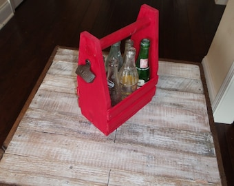 Six pack caddy with bottle opener