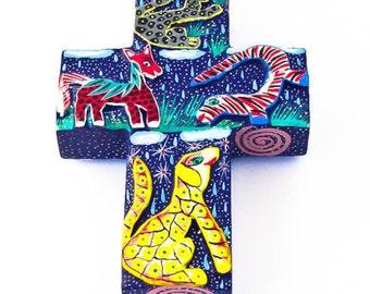 Handmade Oaxacan Children's Colorful Animal Cross
