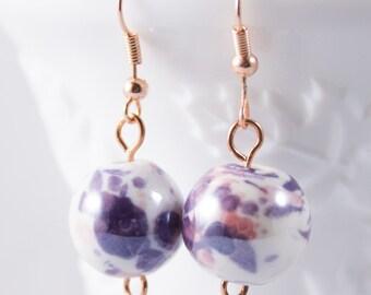 Rose Gold Dangle Earrings - Rose Gold Earrings - Purple Earrings - Pink Earrings