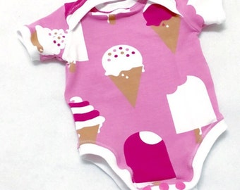 Baby Girl Onesie, Organic Girl Onesie, pink baby onesie, Ice cream onesie, Baby clothes sale, Organic Girl Clothes