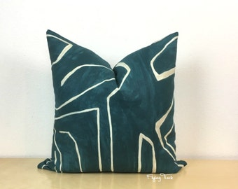 Kelly Wearstler Graffito Pillow Cover - Teal/Pearl - Choose 1 SIDED OR 2 SIDED - Urban Chic  -  Designer - In Stock