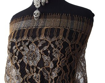 Metallic lace fabric eyelash lace scallop edging corded floral lace silver pewter brown gold bridal Baroque Burlesque 95cm wide