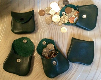 Tiny coin purse, Leather coin purse, small coin purse, small coin purse, coin pouch,money purse,genuine leather,coin,leather coin bag, green