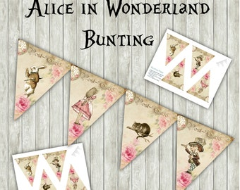 Digital Alice in Wonderland Bunting Banner Garland Flag - Party,Printable,Birthday,Tea Party,Decoration