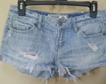 Jean destroyed shorts, Size 0 Upcylced/Altered (Waist 29 inch)  // Distressed Shorts // Size 0 Shorts //  Upcycled Shorts //