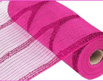 "10.5""X10yd Wide Tinsel Foil Hot Pink Deco Mesh/ Wreath Supplies/ RY840111"