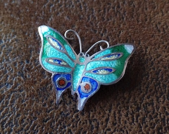 Vintage Taxco Sterling and Enamel Butterfly