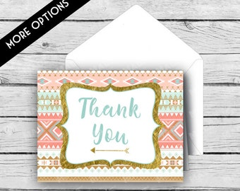 Printed TRIBAL THANK YOU Note Card Set - Aztec, Thank you Cards, Stationery, Professional Printing