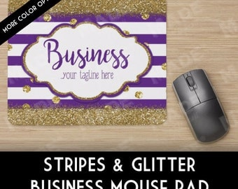 STRIPES & GLITTER Business Mouse Pad, Computer, Personalized Decor, Gold Glitter, Office Supplies