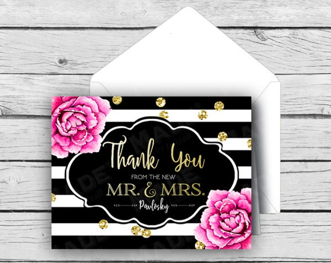 Printed THANK YOU from the NEW Mr. & Mrs. Personalized Gold Foil Note Card Set - Pink Peonies, Wedding Note Cards, Stationery