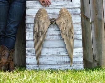 Angel wings reclaimed wood