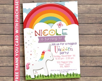 Magical Rainbow Unicorn Party Invitation, Printable, Birthday,  5x7. FREE THANK YOU Card!