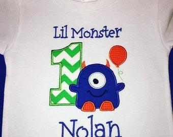 Lil Monster 1st Birthday Tshirt or Onesie