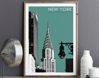 New York Print, CHRYSLER BUILDING, Art Prints, Wall Art Prints, City Prints, Architectural Print, Travel Print, Giclee Print