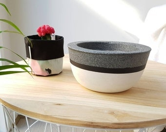 Handmade white concrete and granite-look indoor bowl