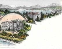 Hotel de l'Europe, Lucerne,  Switzerland, Circa 1900 Antique Unused Color Postcard, Hagen Freres, Propr.