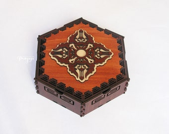 Decorative, lasercut, wooden hexagon box with Dorje (Vajra) sacred symbol for jewelry, treasure, stash, gift, unusual detail