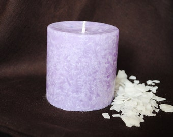 Palm Wax Pillar Candle - Xmas, Christmas Table Centre Piece - Pillar, Tower Candle, Gothic, Scary - Violet Colour