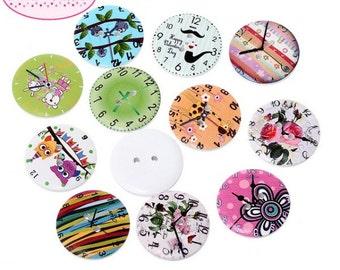 50 buttons round wooden clocks 3 cm