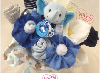 New Baby Gift Bouquet for Boy - Includes: Onesies, Pants, Socks, Blanket, Washcloths, and Diapers