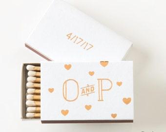 FLOATING HEARTS Matchboxes - Wedding Favor, Wedding Matches, Wedding Decor, Personalized Matches, Custom Matchbox, Match Box Favor, Initials
