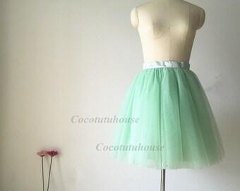 Light Green Tulle Skirt/Women Tulle Skirt/ Women Tulle skirt/ Short Tulle skirt/Wedding Dress Underskirt/ /Bridesmaid/Bachelorette TuTu