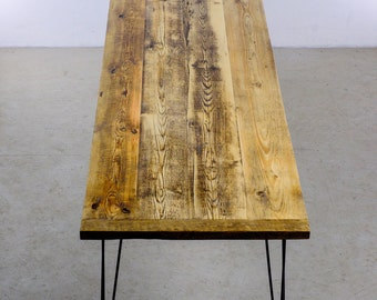 Reclaimed Wood Dining Table, Handmade Dining Table With Sturdy Hairpin Steel Legs