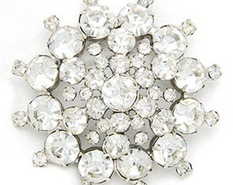 Large Vintage Clear Rhinestone Silver Tone Brooch Pin Prong Set