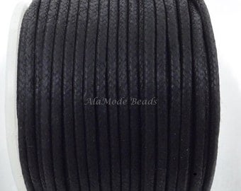 ON SALE 2MM Black Waxed Cotton Cord 3 Yards