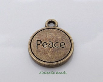 ON SALE 8 Antique Bronze Peace Charms 17X13Mm Boho Earthy Rustic Peace Charms Pendants