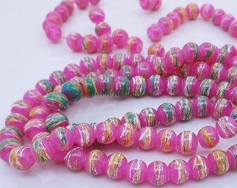 6mm Pink Pearl Drawbench Beads (35) Pink Pearl Glass Drawbench Beads