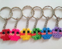 Handmade hama/perler bead keyrings/keychains cute mini faces in a choice of red, pink, yellow, green, blue and lilac